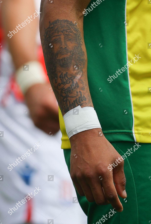 tattoo Jesus Christ on arm Onel Hernandez Editorial Stock