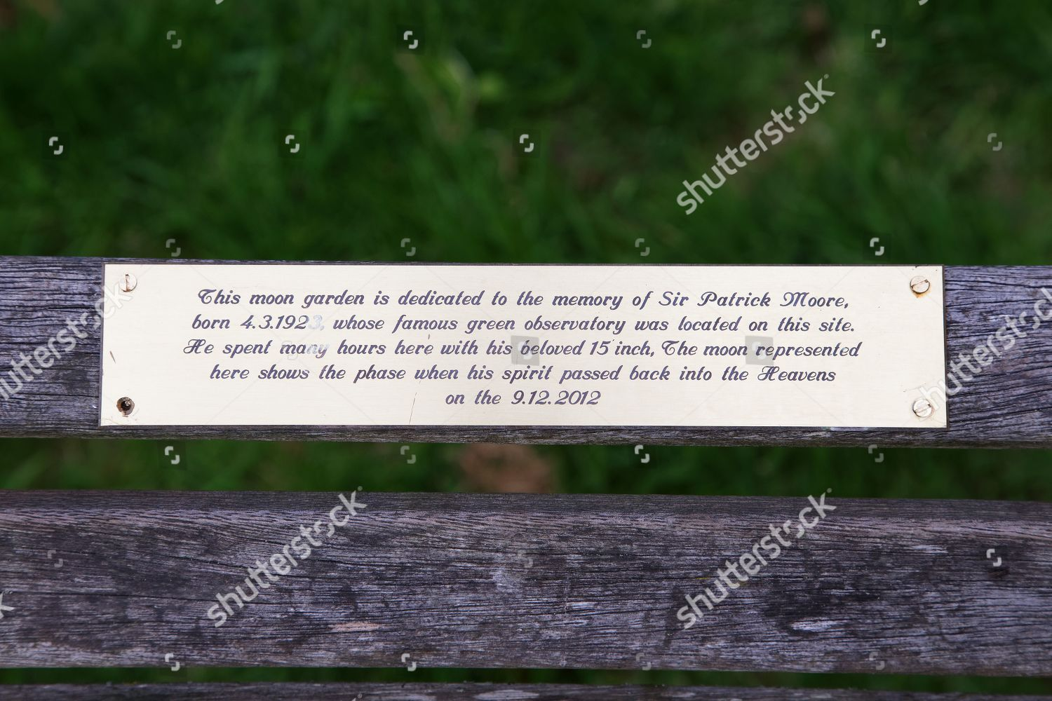 Plaque On Memorial Bench Editorial Stock Photo Stock Image