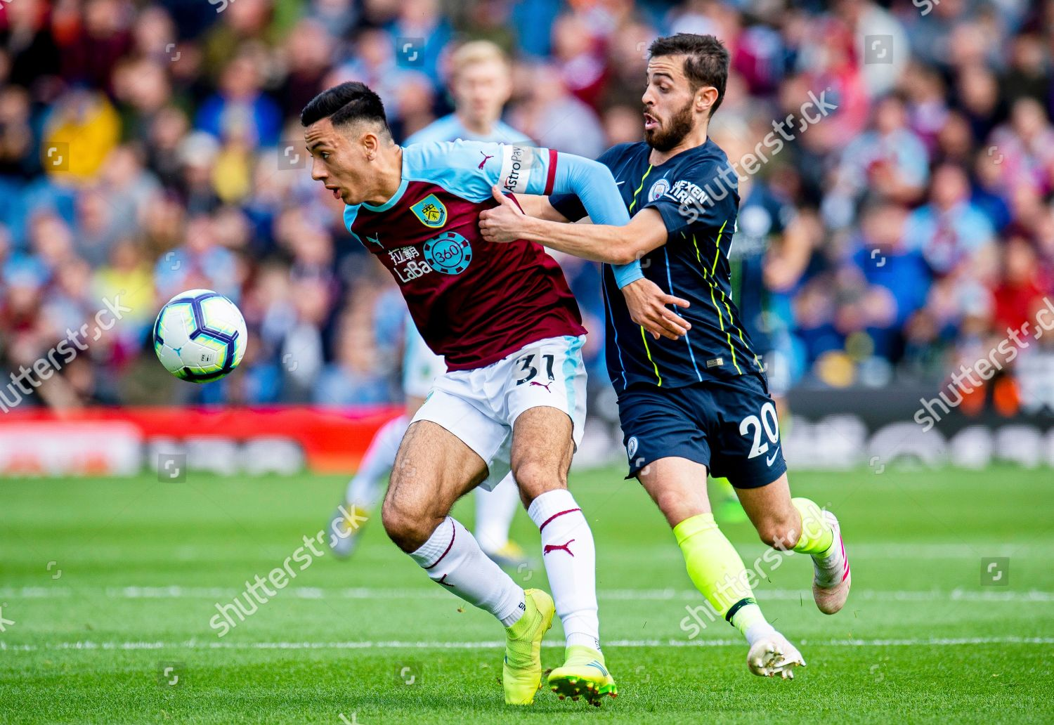 Burnleys Dwight Mcneil L Action Against Manchester Editorial Stock