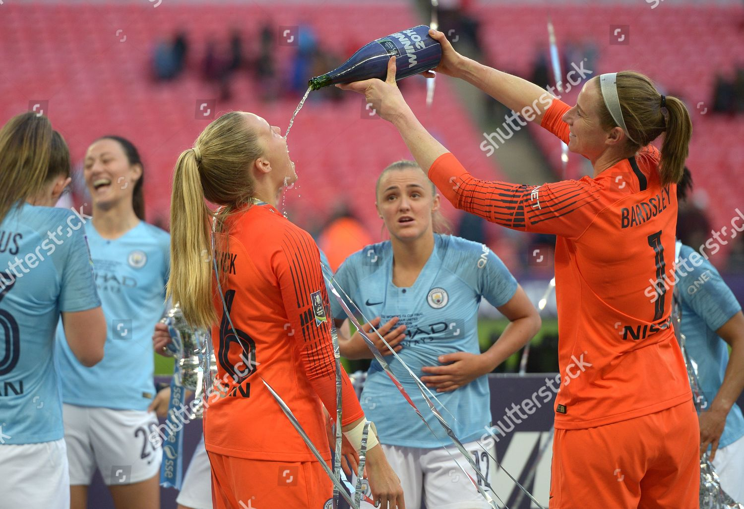 Ellie Roebuck Manchester City Karen Bardsley Celebrate Editorial