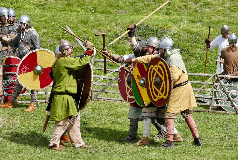 Siege Corfe Castle reenactment Editorial Stock Photo - Stock
