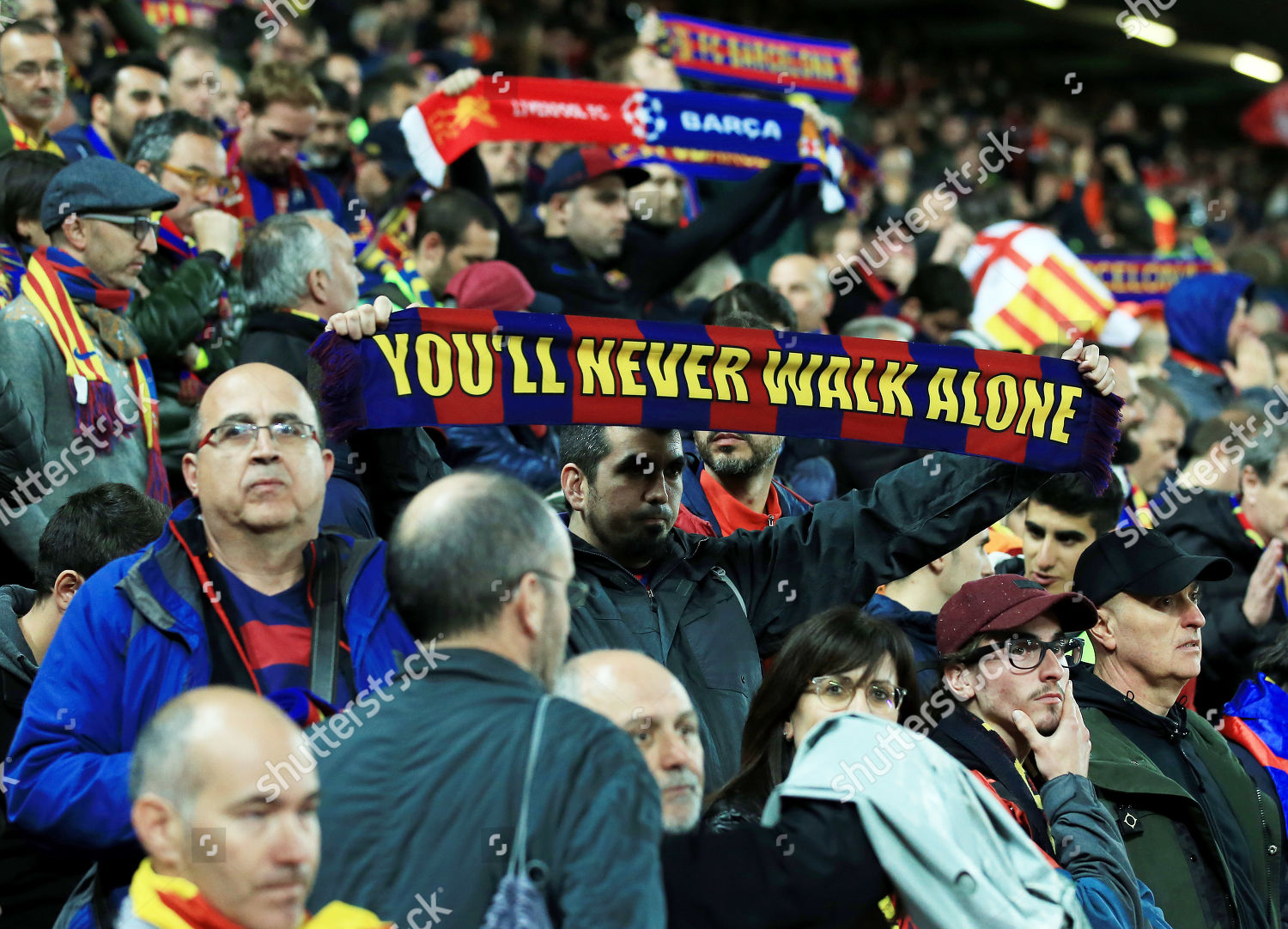 Barcelona fans hold their scarves end game Editorial Stock