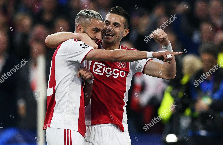 Hakim Ziyech L Ajax Amsterdam celebrates teammate Editorial