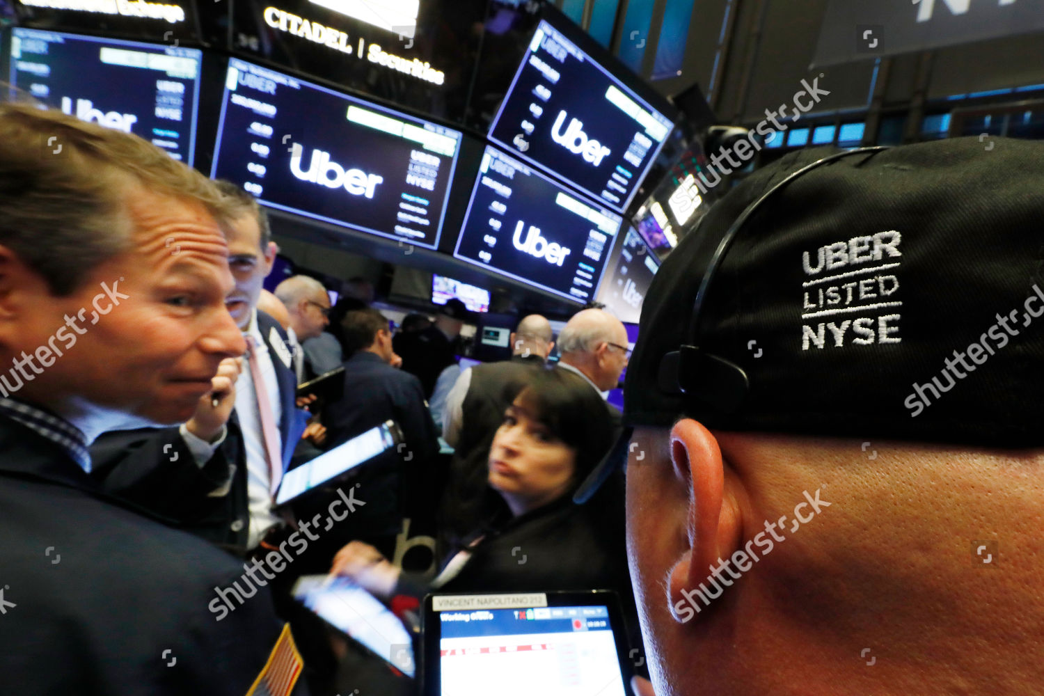 Stock traders wait open trading Uber shares Editorial Stock