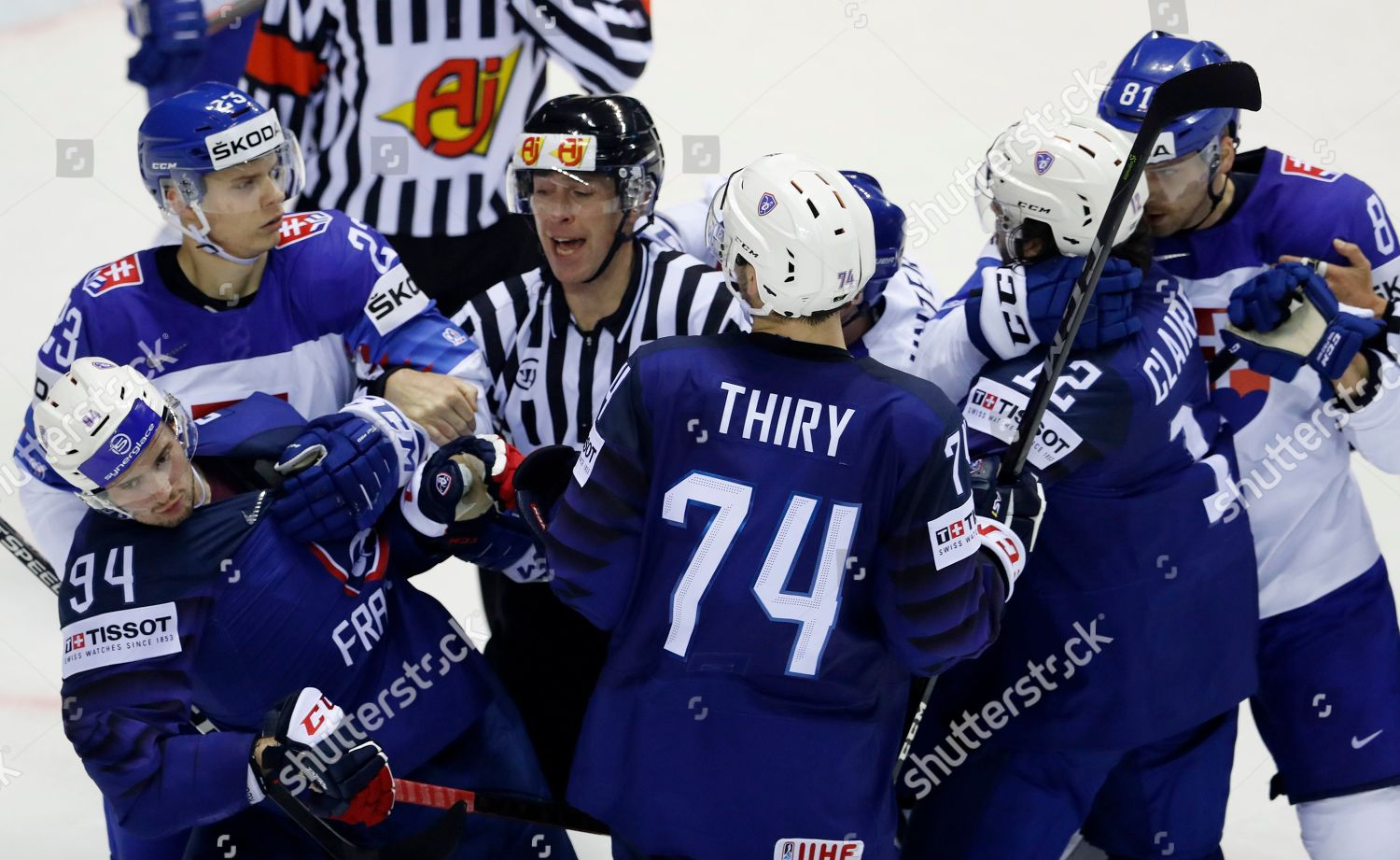 Referee Tries Break Off Fight Between Players Editorial Stock Photo