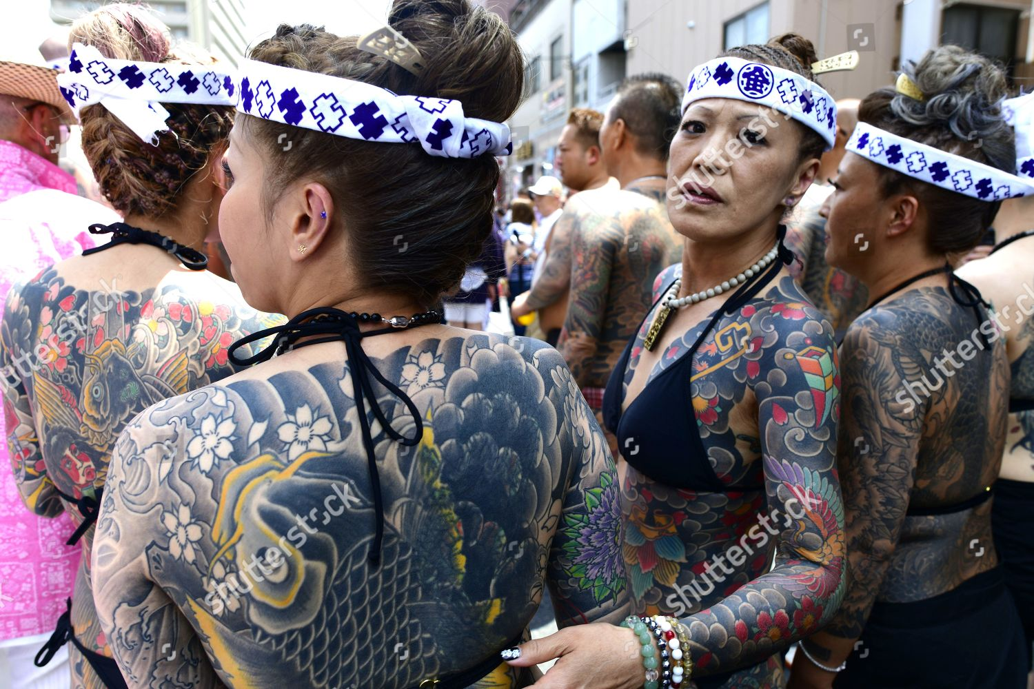 Heavily Tattooed Japanese Women Stand Street They Editorial