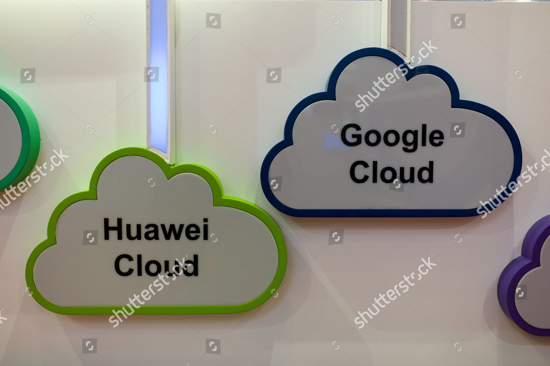 exhibitor displays Google Cloud Huawei Cloud logos Editorial