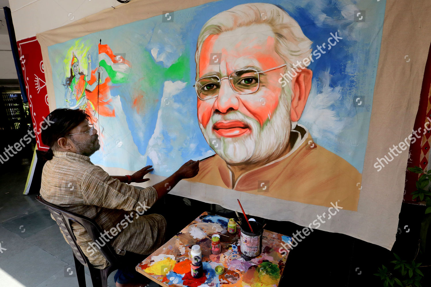 Indian Artist Raj Seni Touches Painting Indian Editorial Stock Photo Stock Image Shutterstock