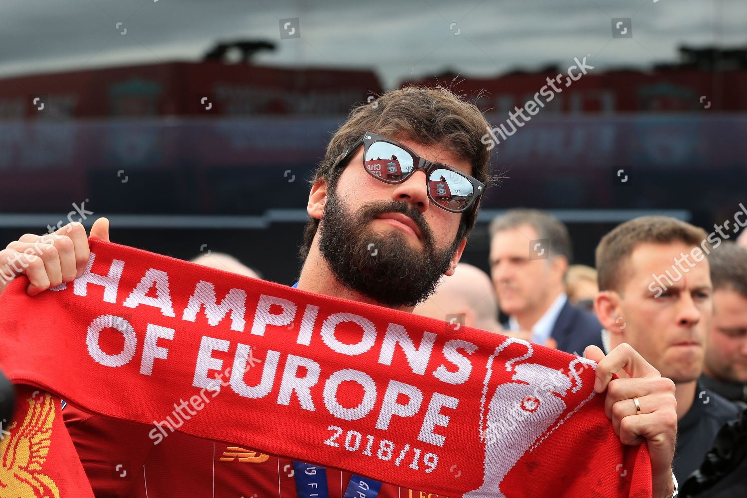 Liverpool goalkeeper Alisson Becker Champions Europe scarf