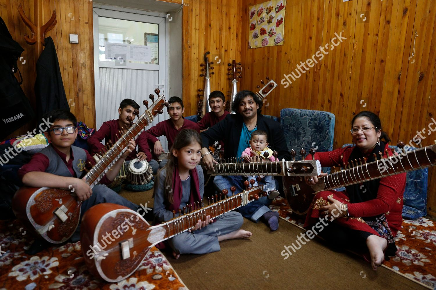 Afghan music class members pose photograph they Editorial