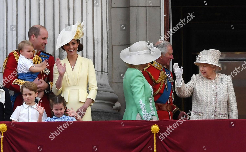 Britains Queen Elizabeth II R members Royal Editorial Stock