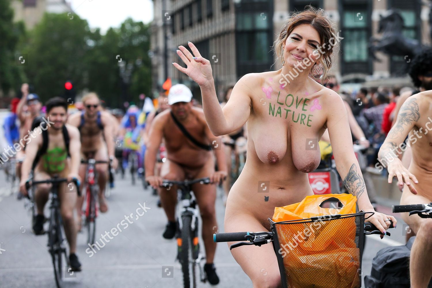 Nude Cyclists Take Part 16Th Annual Naked Editorial Stock -2080