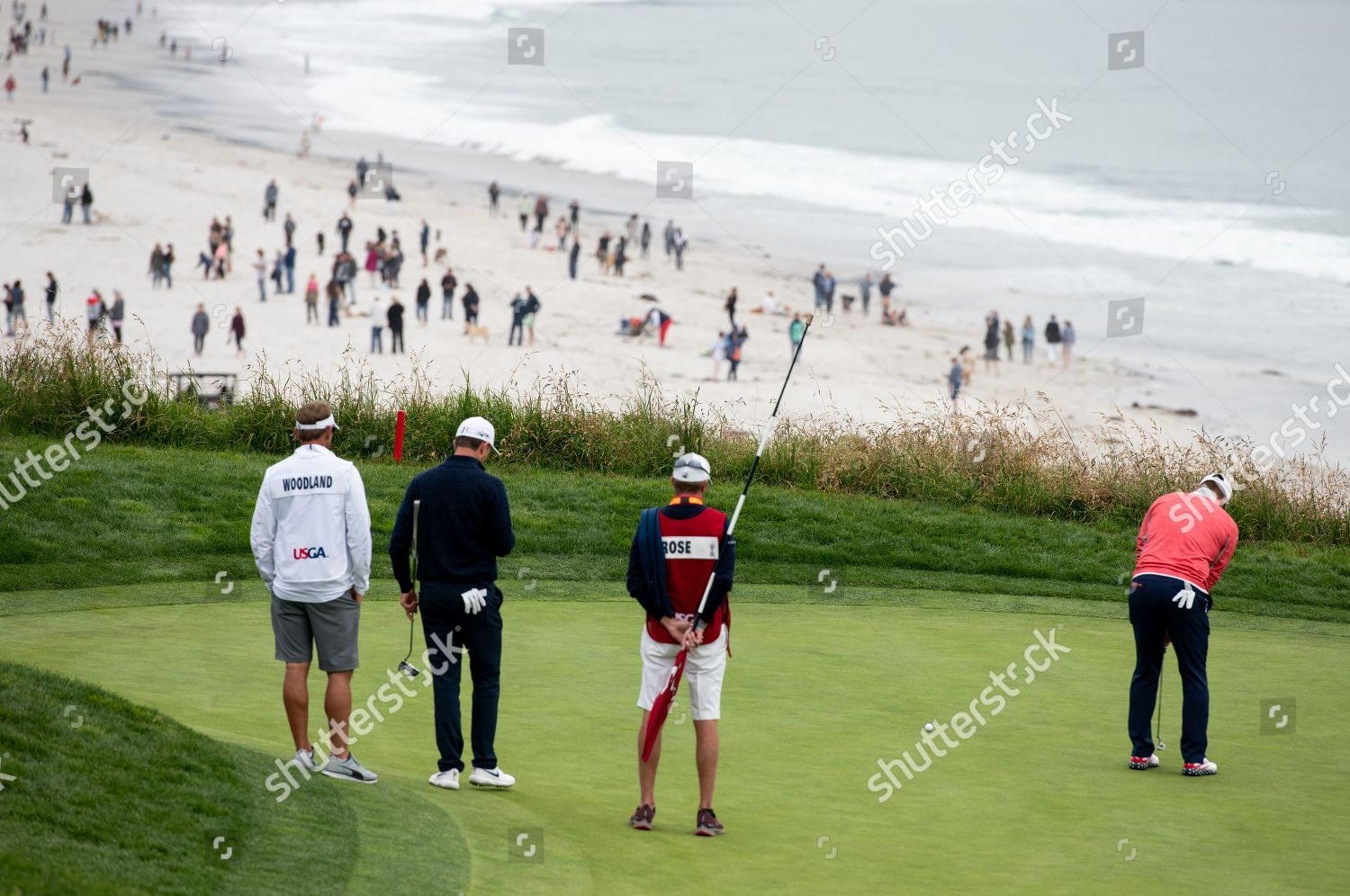 Gary Woodland USA putts ball on 18th Editorial Stock Photo