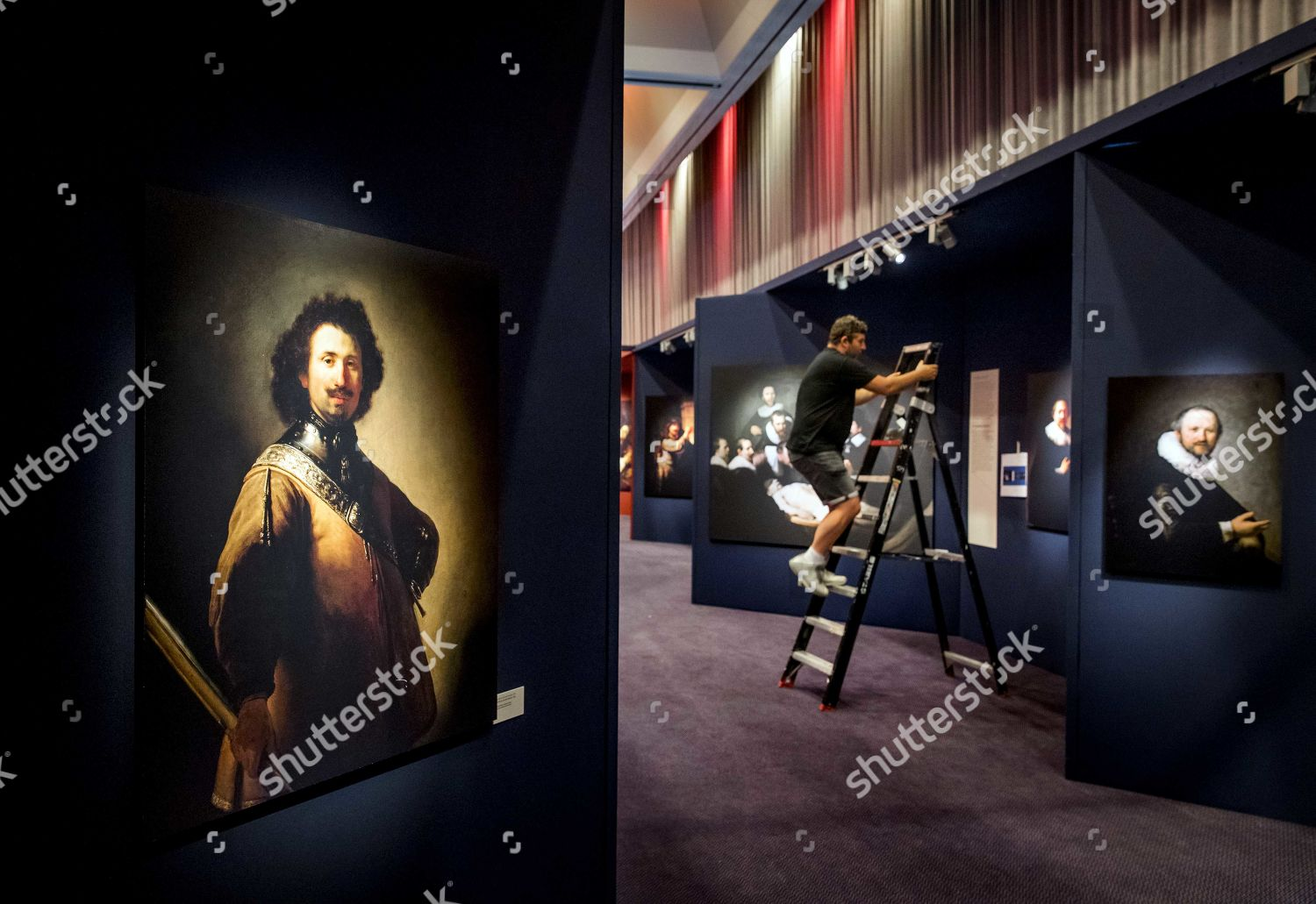 Employees set exhibition Discover Rembrandt His life Editorial Stock