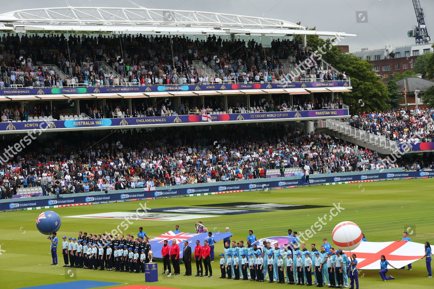 general view teams line national anthems Editorial Stock