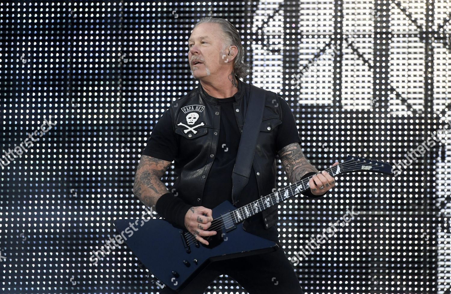 Metallica James Hetfield on stage during bands Editorial Stock Photo