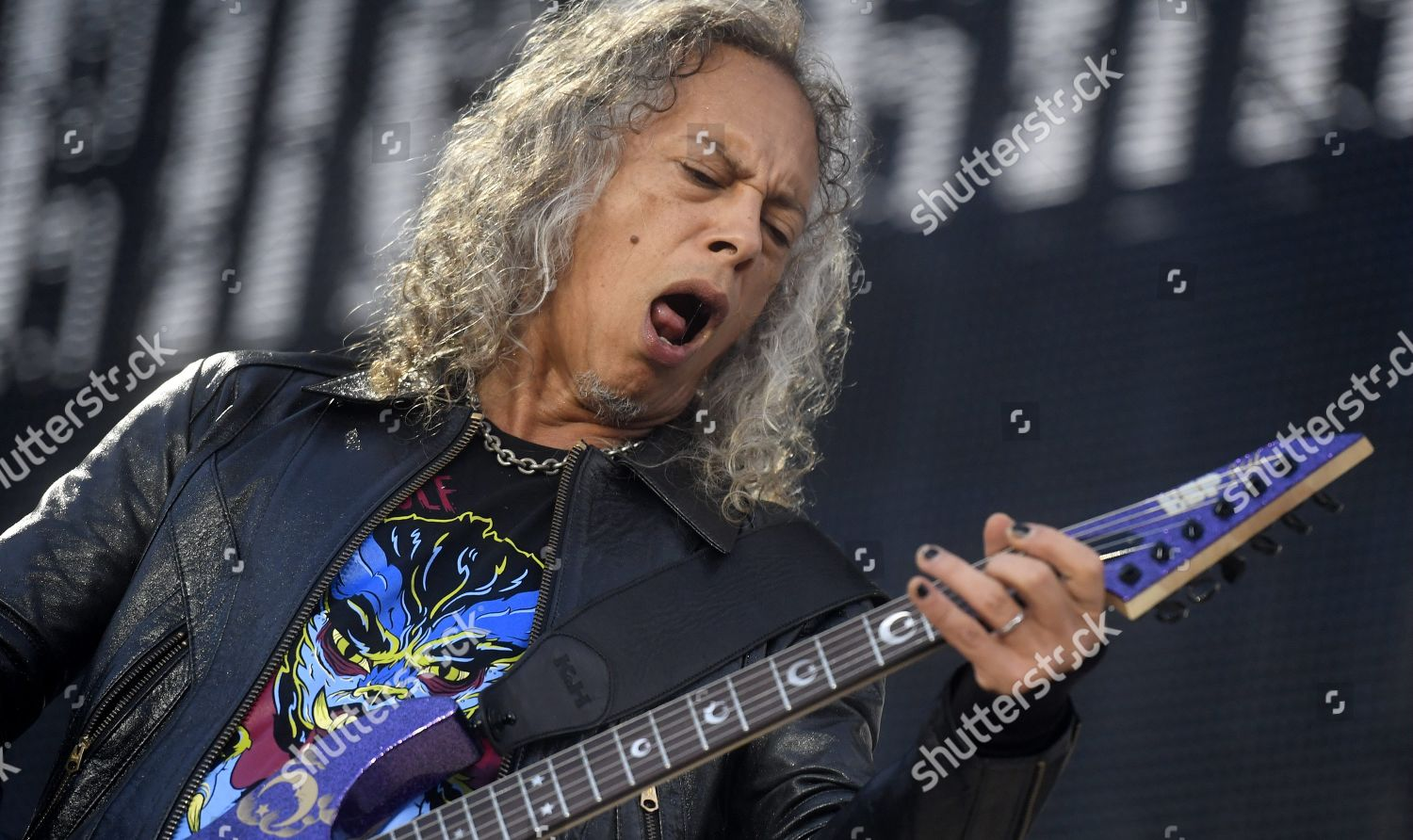 Metallica Kirk Hammett on stage during bands Editorial Stock Photo
