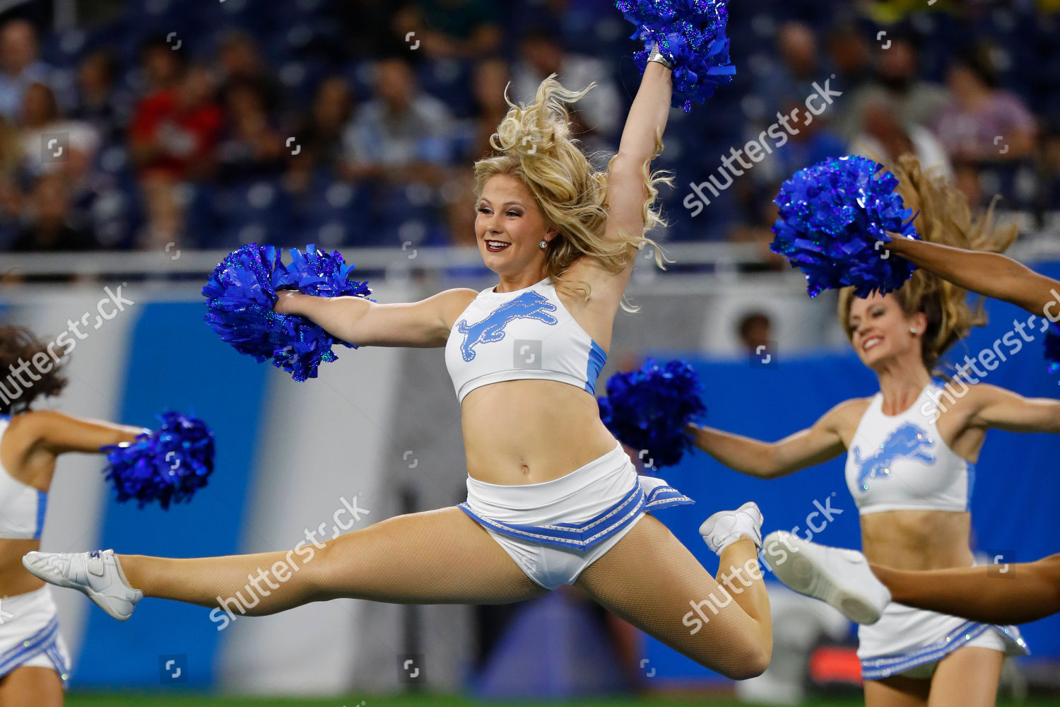 Detroit Lions Cheerleaders Perform During First Half