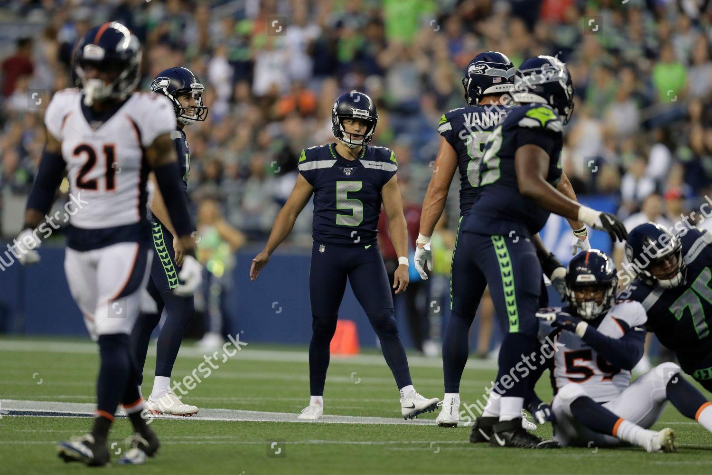 Seattle Seahawks Kicker Jason Myers 5 Reacts Editorial Stock