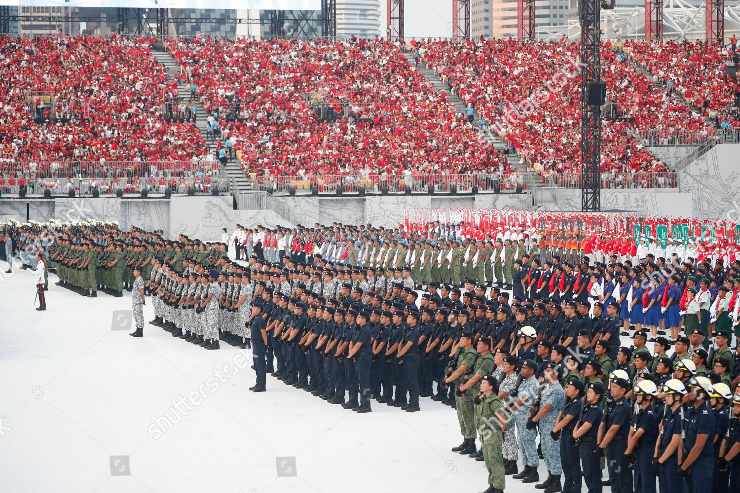 Uniformed personnel formed during National Day Parade