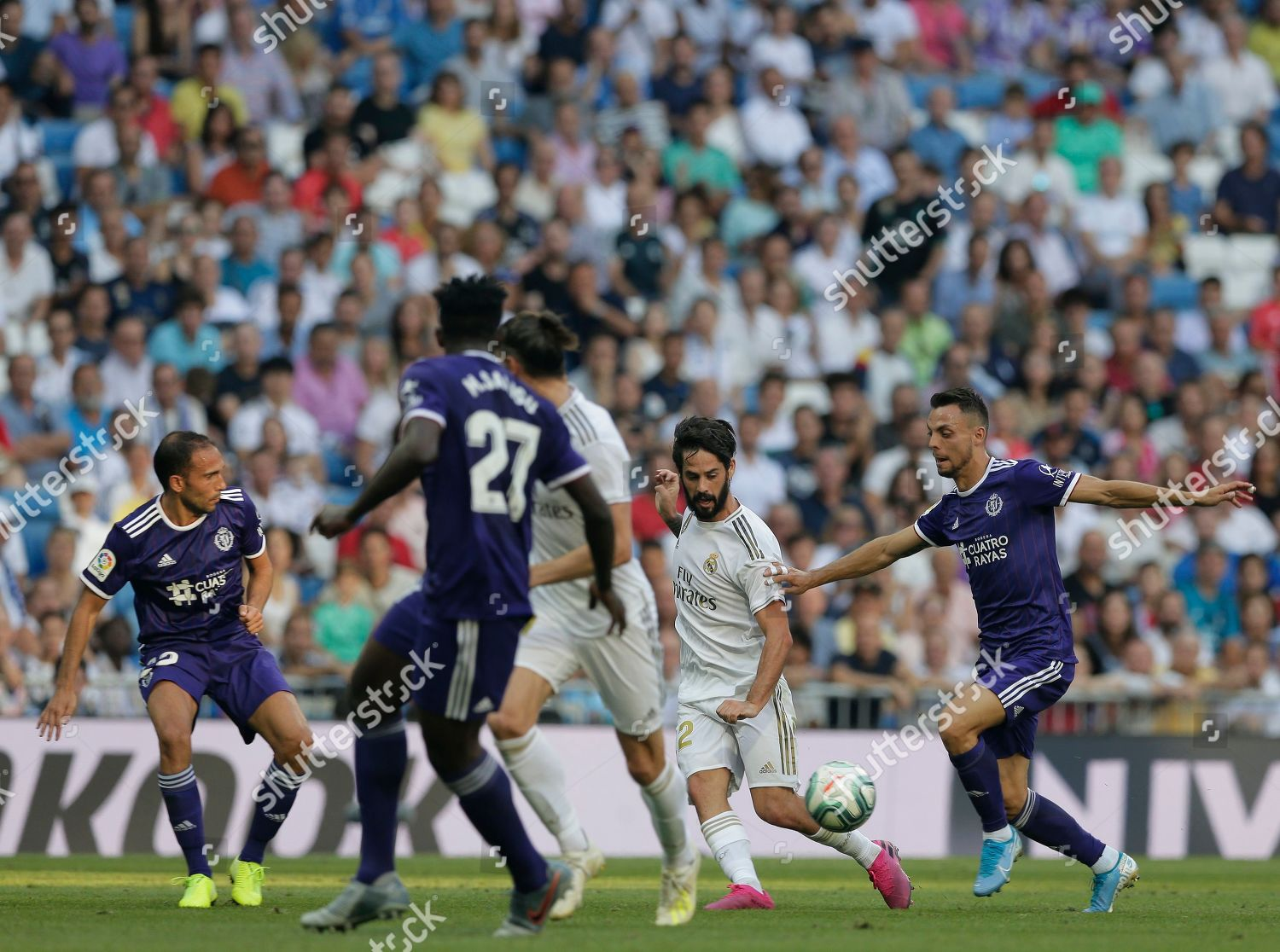 Real Madrids Isco second right vies ball Editorial Stock