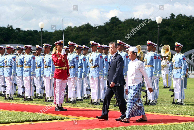 Myanmars President Win Myint right South Korean Editorial