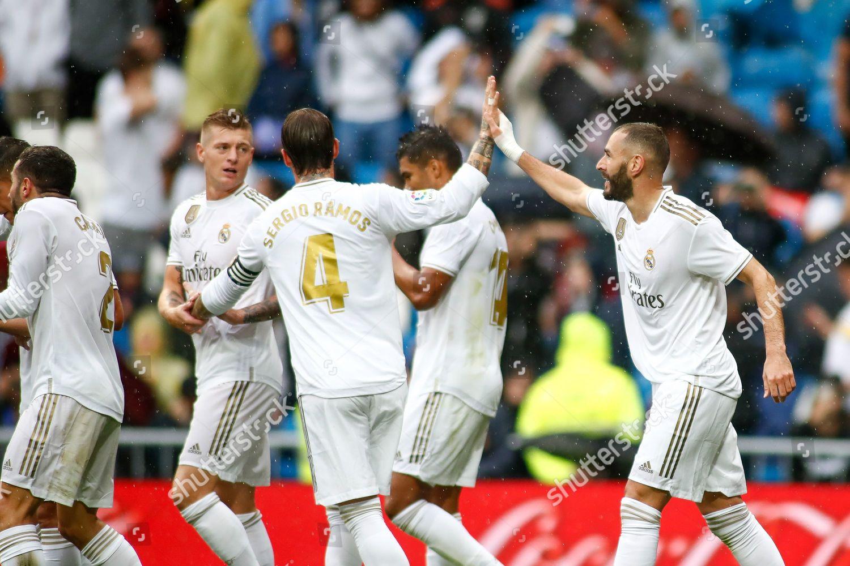Karim Benzema Real Madrid Celebrates Goal Editorial Stock Photo