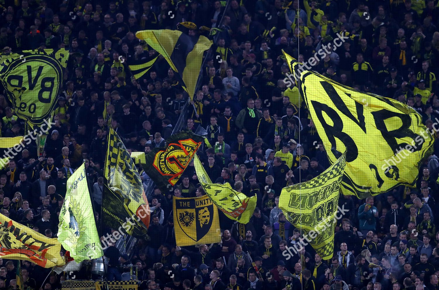 Borussia Dortmund Fans Wave Flags Stands Editorial Stock Photo Stock Image Shutterstock