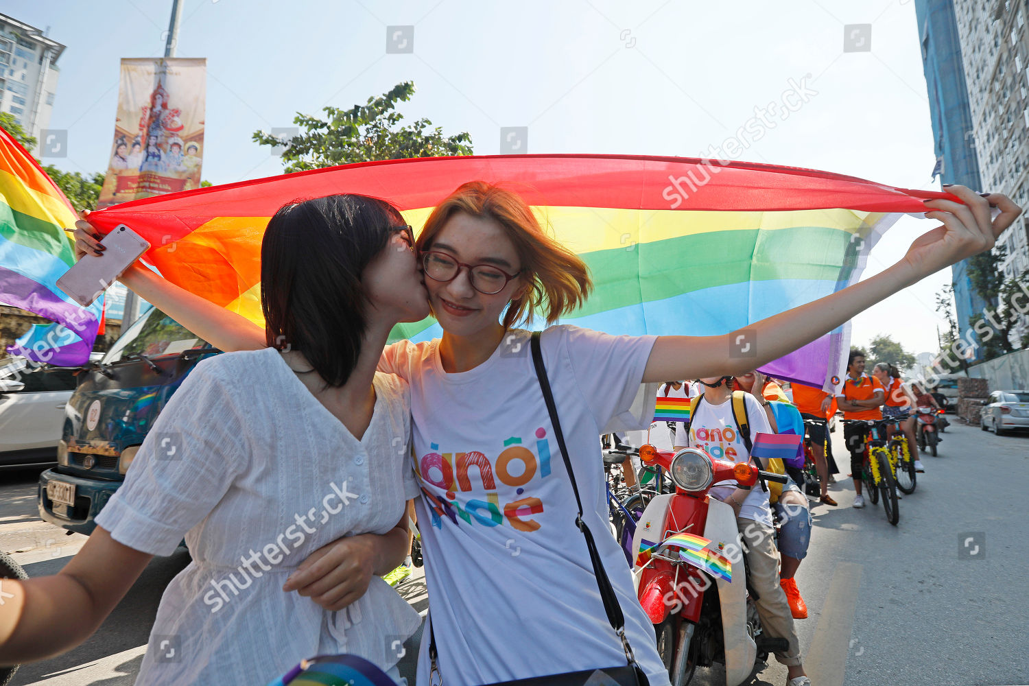 Two women kiss each other they take Editorial Stock Photo - Stock Image |  Shutterstock