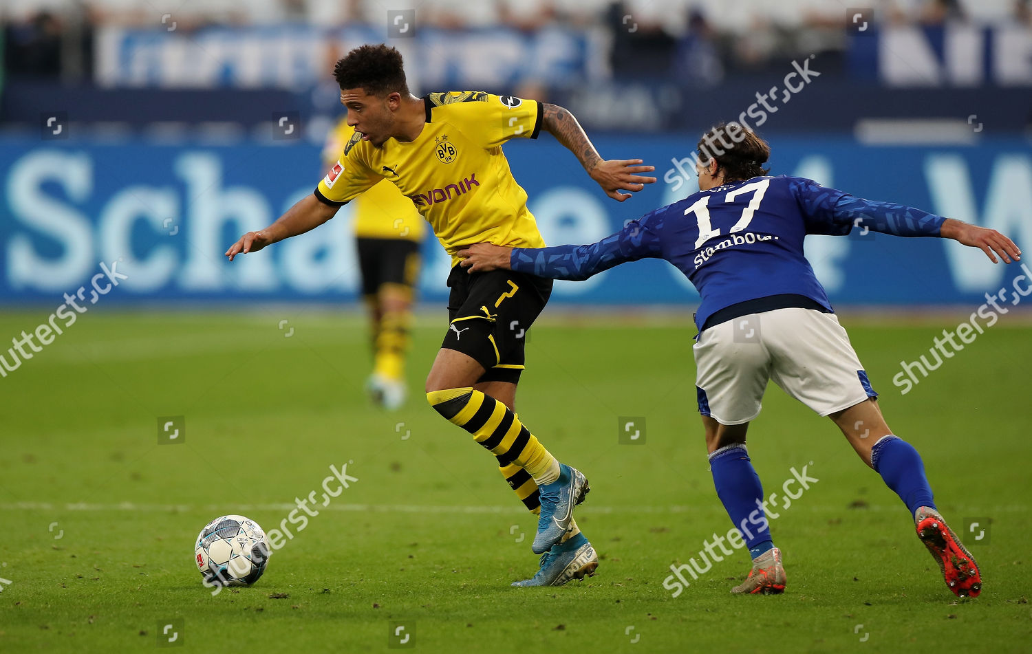 Dortmunds Jadon Sancho Action Schalkes Benjamin Stambouli Editorial Stock Photo Stock Image Shutterstock