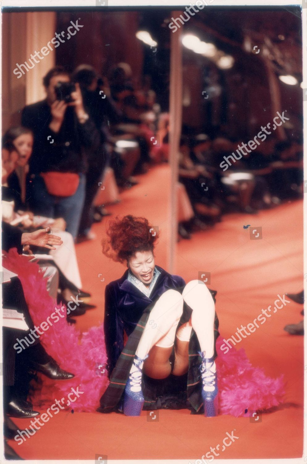 611efeacea4e Paris Fashion Week - Naomi Campbell Falls Over While On The Catwalk Wearing  Mock Crocodile Shoes