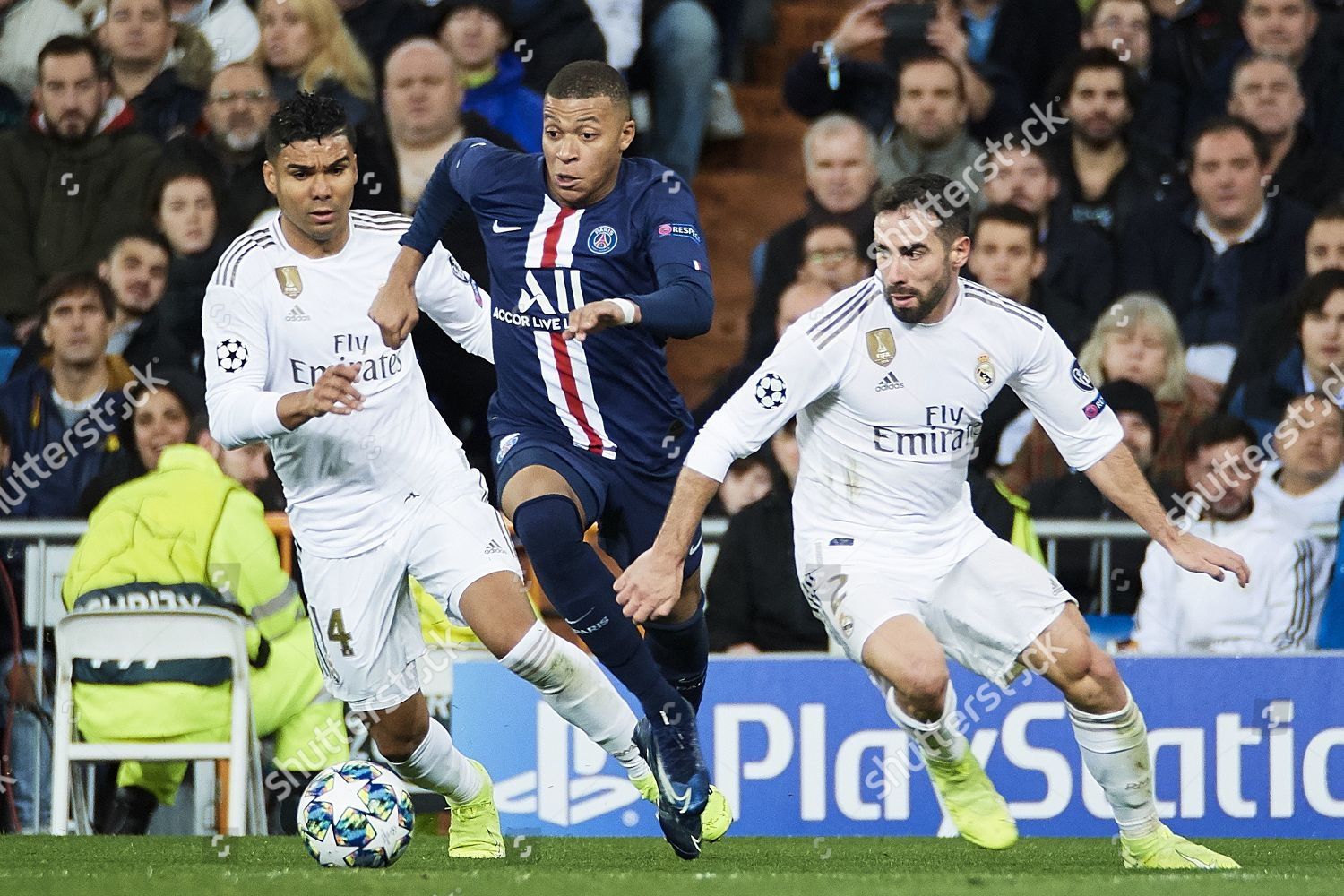 Kylian Mbappe Psg Action Against Casemiro Daniel Editorial Stock