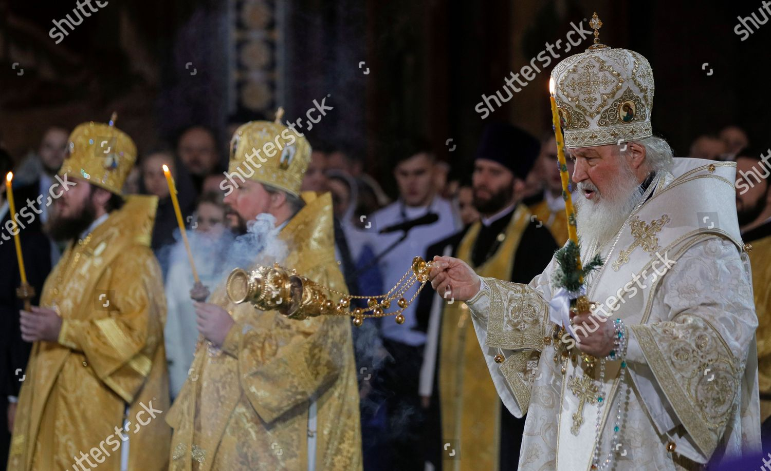 Kirill Christmas Photos Jan 2020 Patriarch Moscow All Russia Kirill R leads Editorial Stock Photo