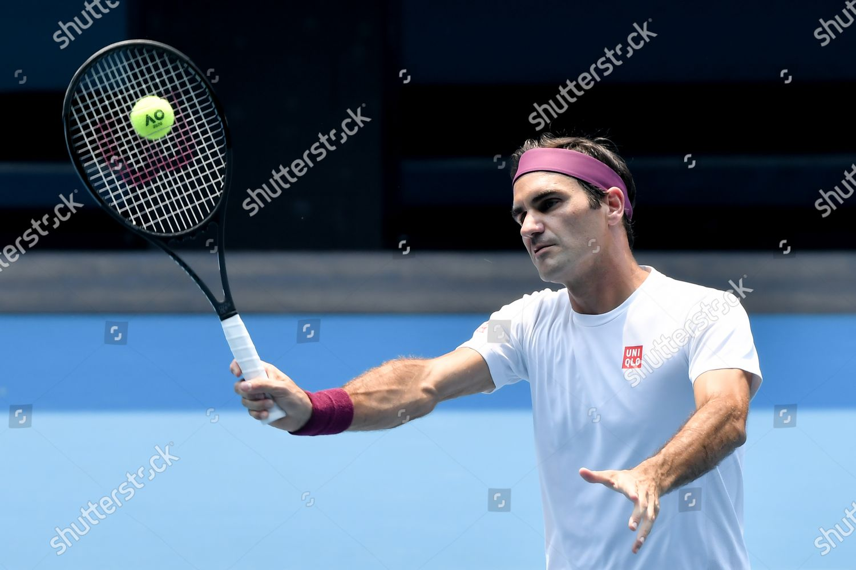 Roger Federer Practises On Rod Laver Arena Editorial Stock