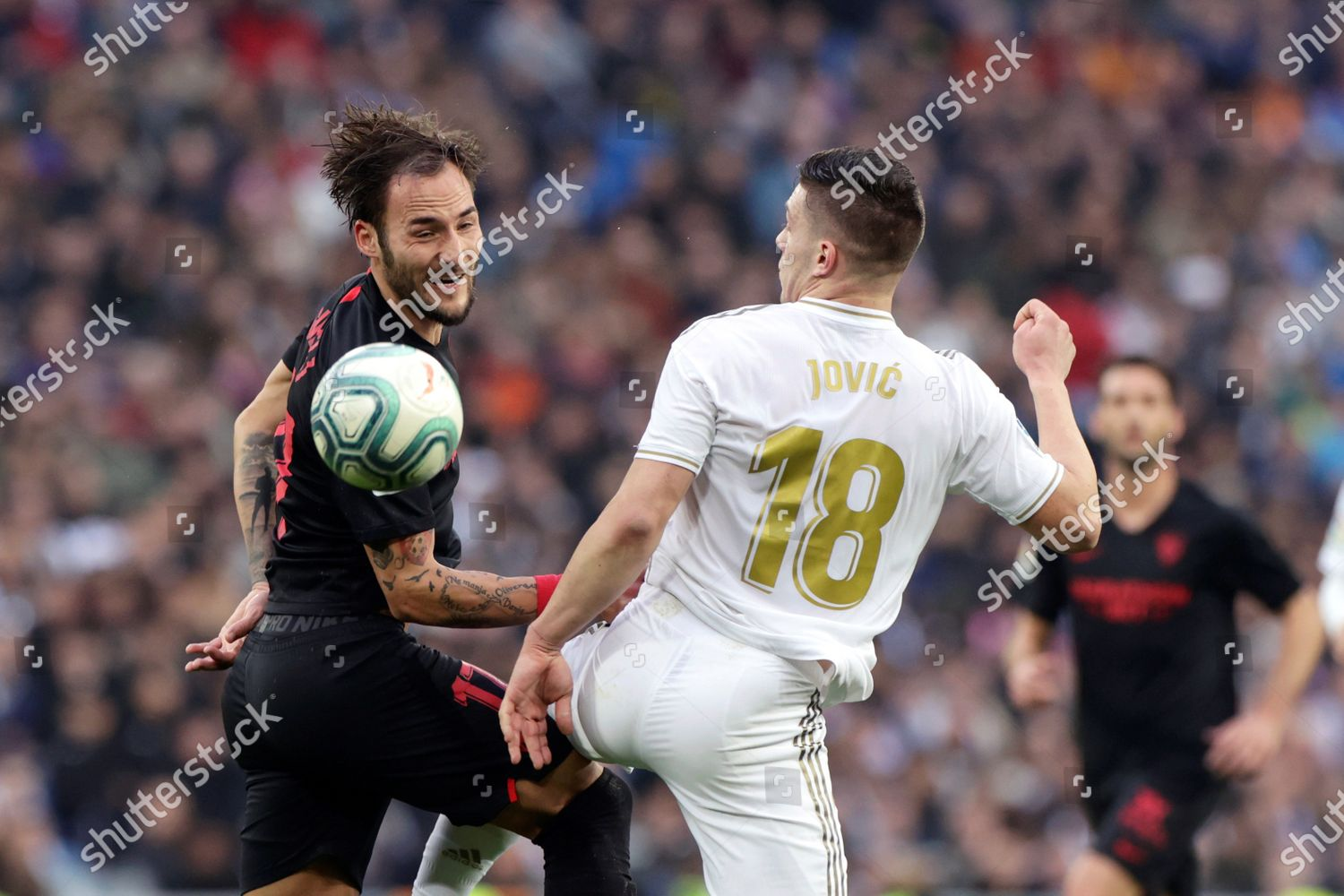 Real Madrids Luka Jovic R Action Against Editorial Stock Photo