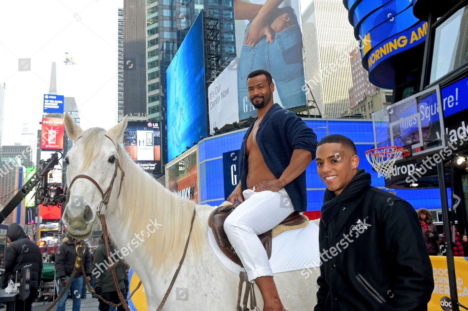 Stock photo of Old Spice Guys Isaiah Mustafa and Keith Powers in Times Square, New York, USA - 23 Jan 2020
