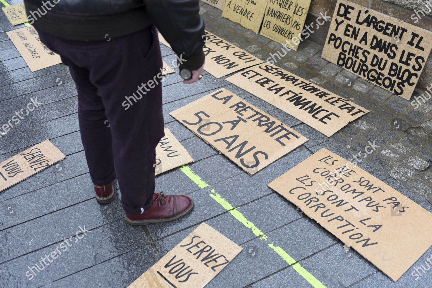 Les As Du Placard Nantes placards displayed on ground editorial stock photo - stock
