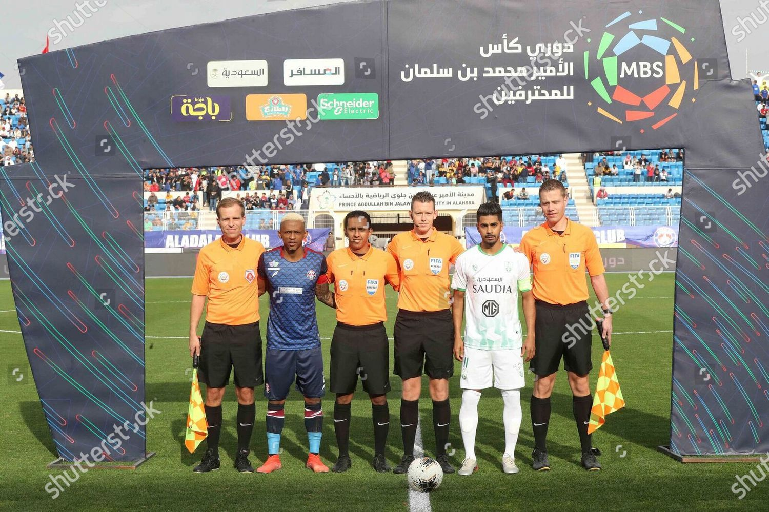 Captains referees pose before Saudi Professional League Editorial ...