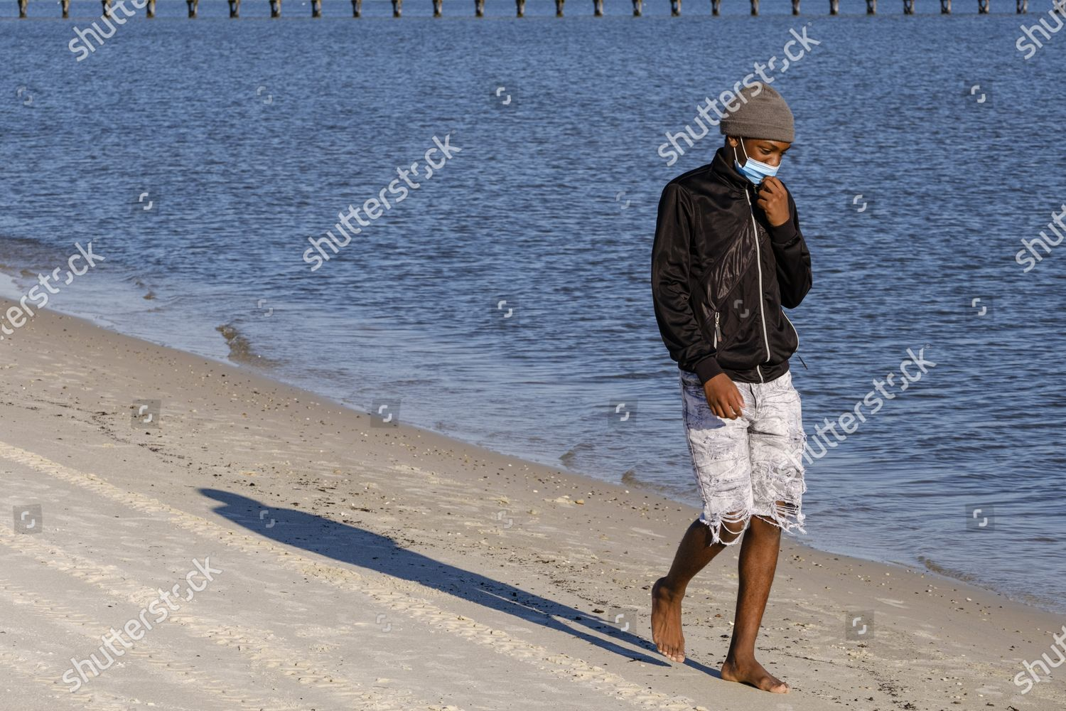Dontrel Smith Walks Public Beach While Wearing Editorial Stock