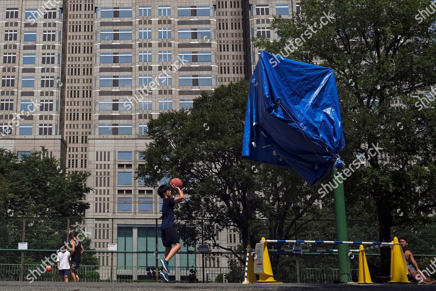 Man Practices His Jump Shot Basketball Backdrop Editorial Stock Photo Stock Image Shutterstock