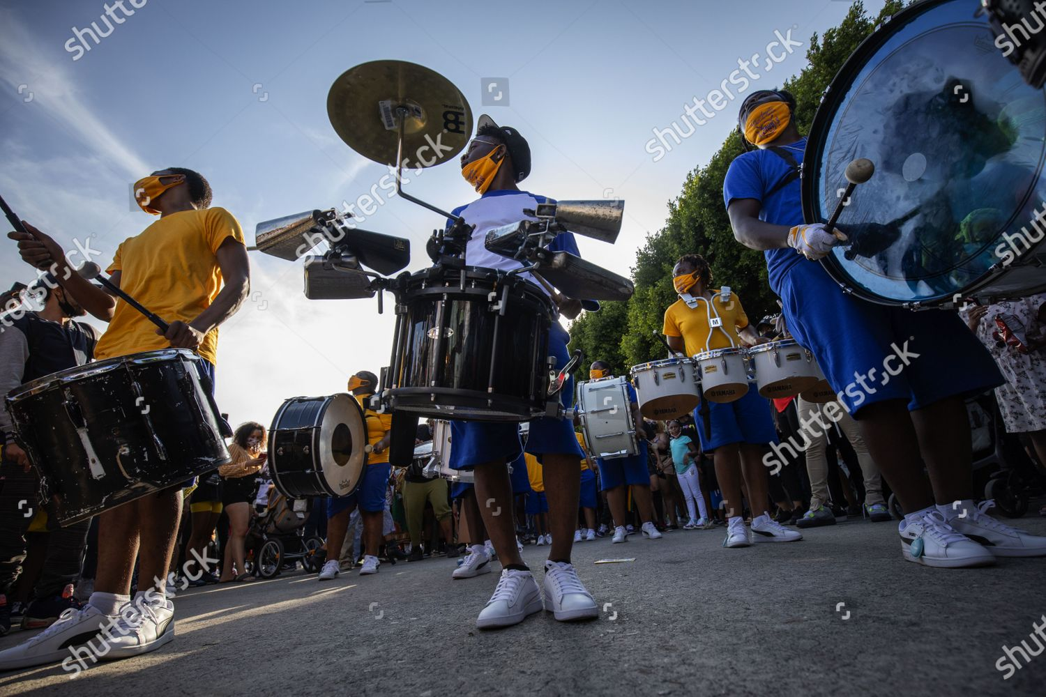 Christmas Plays In Los Angeles 2020 drumline plays music during Juneteenth holiday celebration
