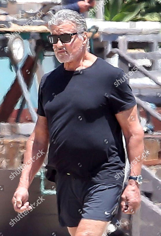 Sylvester Stallone walks on beach Malibu Editorial Stock ...