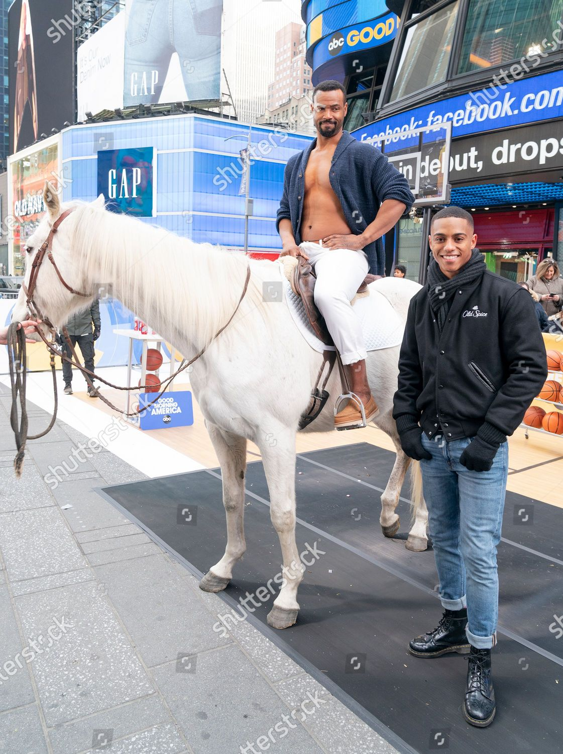 ภาพสต็อกของ NY: Old Spice promotion on Times Square, New York, United States - 23 Jan 2020