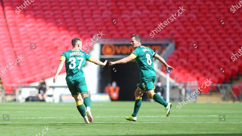 Cal Roberts celebrate pulling goal back Notts Editorial Stock ...