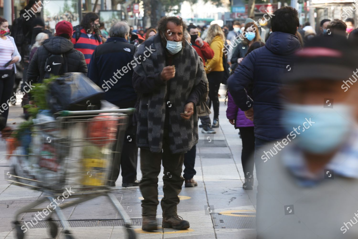 Street Dweller Asks Money Amid Dozens Passersby Editorial Stock Photo Stock Image Shutterstock