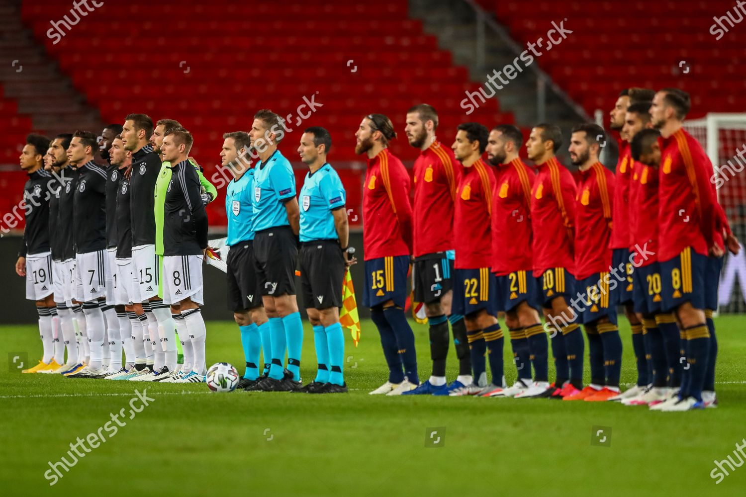 Germany Left Spain Players Stand During National Editorial Stock Photo Stock Image Shutterstock