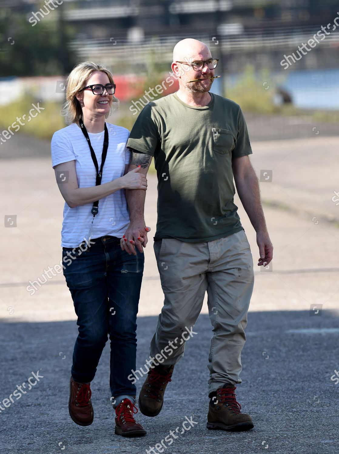 Stock photo of Joe Duttine and Sally Carman out and about, Media City, Manchester, UK - 14 Sep 2020