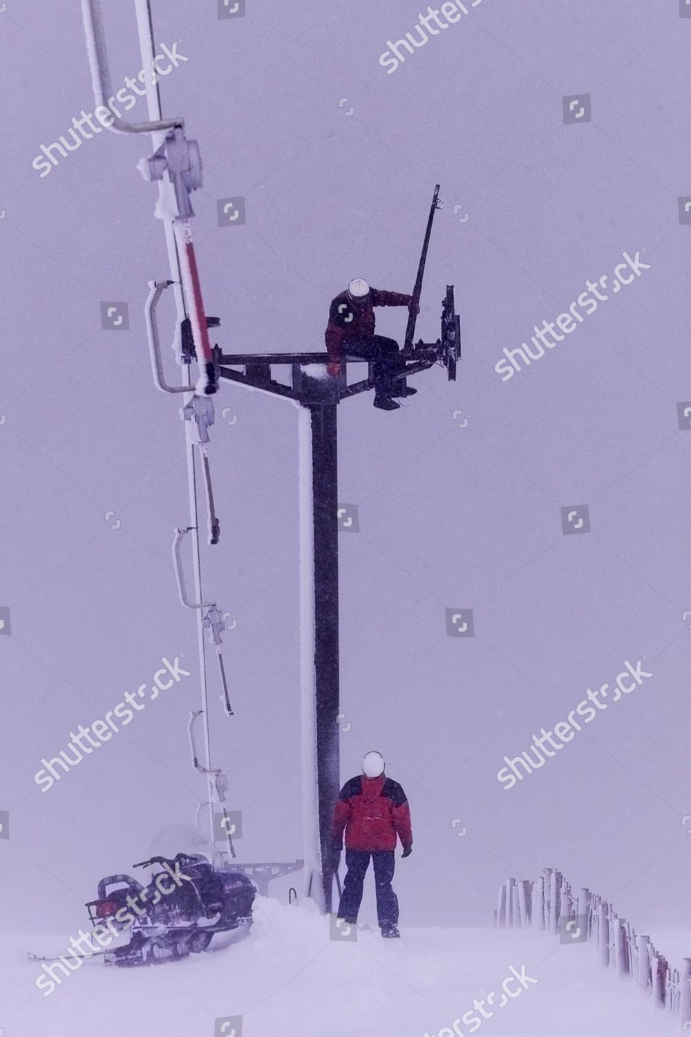 Engineers Repair The Ski Chair Lift On Cairn Gorm Mountain Today After  Yesterdays Gale Force Winds