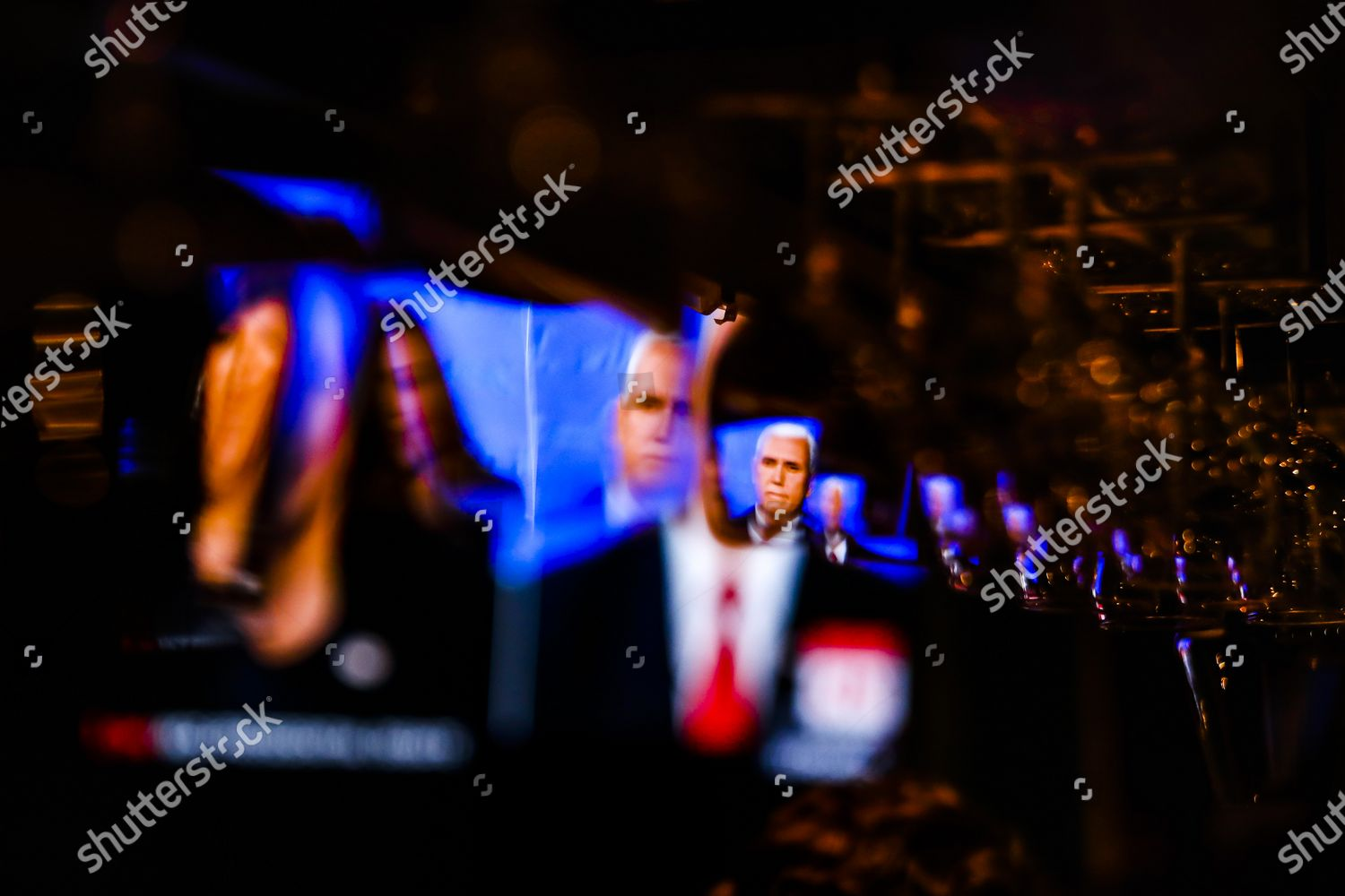 Screen Showing Us Vice President Mike Pence Editorial Stock Photo Stock Image Shutterstock