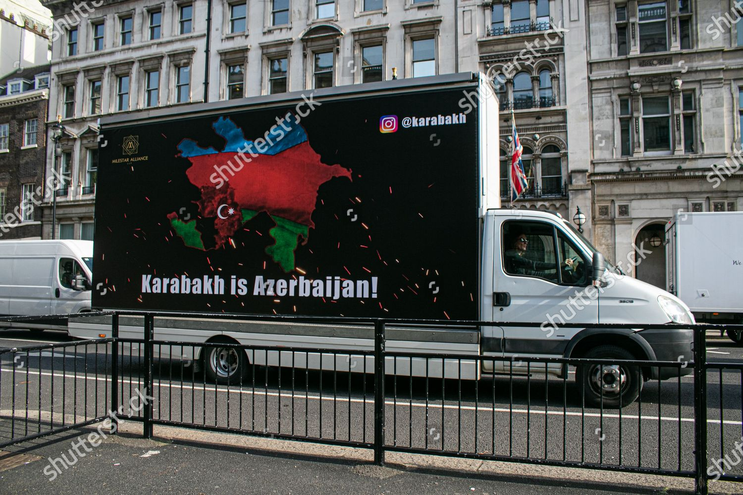 Van Driving Whitehall Poster Support Azerbaijan Conflict Editorial Stock Photo Stock Image Shutterstock